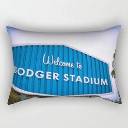 Welcome to Dodger Stadium | Los Angeles California Nostalgic Iconic Sign Sunset Art Print Tapestry Rectangular Pillow