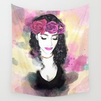 rave Wall Tapestries featuring Rave with Flowers In Your Hair by AZ Design