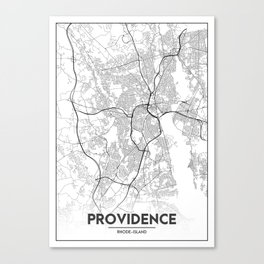 Minimal City Maps - Map Of Providence, Rhode Island, United States Canvas Print