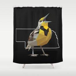 Nebraska – Western Meadowlark (Black) Shower Curtain