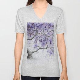 Purple Prosperity Tree Unisex V-Neck