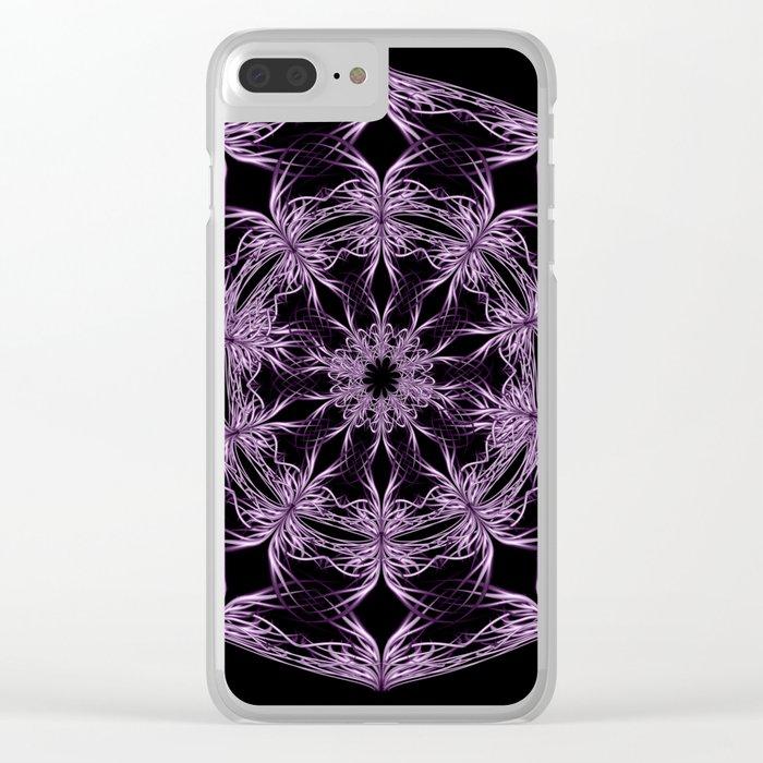 Mandala purple and black Clear iPhone Case