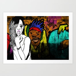 'Girl Gang #2' Rihanna digital graffiti pop art Art Print