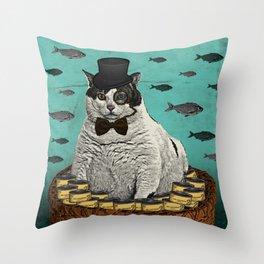 Fat Cat Print Throw Pillow