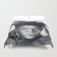 basquiat Duvet Covers featuring Jean-Michel Basquiat Drawing by Wega13Art