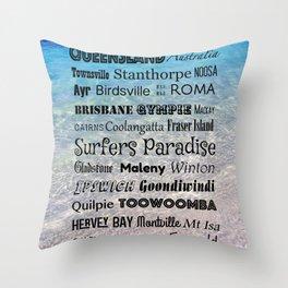 Queensland Poster Throw Pillow