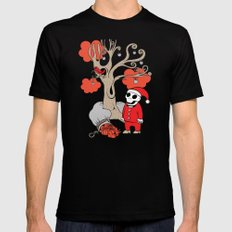 SANTA'S RED BIRD Black LARGE Mens Fitted Tee