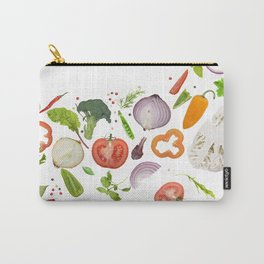 fresh vegetables, herbs and spices isolated on white background Carry-All Pouch