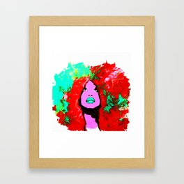Afro Funk Girl colors red turquoise pink Framed Art Print