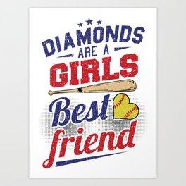 Softball bat baseball diamond Art Print