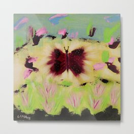 Butterfly Park: Abstract Acrylic Painting of animals Metal Print