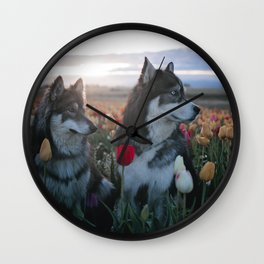 Floral Brothers Wall Clock