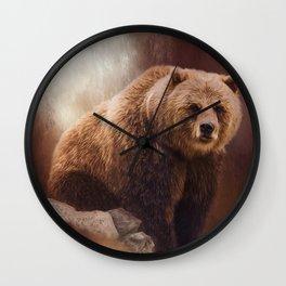 Great Strength - Grizzly Bear Art by Jordan Blackstone Wall Clock