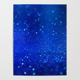 Abstract blue bokeh light background Poster