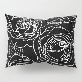 Feminine and Romantic Rose Pattern Line Work Illustration on Black Pillow Sham