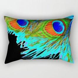 BLACK MODERN ART BLUE-GREEN  PEACOCK FEATHER S ART Rectangular Pillow