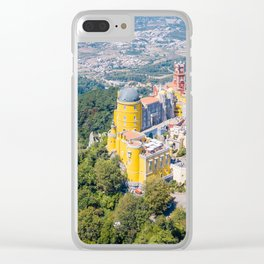 Aerial View Of Pena Palace In Sintra, Portugal, Aerial Drone Photography, Printable Wall Art Poster Clear iPhone Case