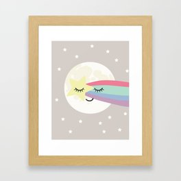 Moon art print, shooting star art print, girls wall art, grey nursery, kids wall art, rainbow art Framed Art Print