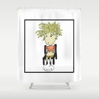 larry Shower Curtains featuring Larry by UberMondoClash