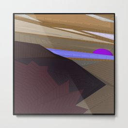Psychedelic Magic landscap with stylised mountains, sea and violet Sun. Metal Print