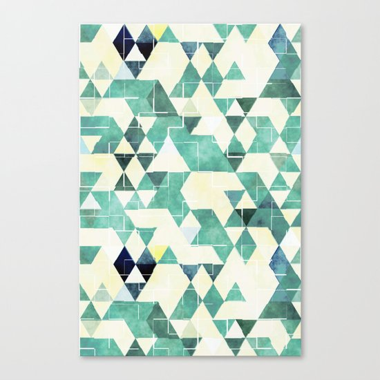 Abstract Green Triangles, Watercolor Pattern Canvas Print