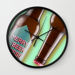 Merry beer ness! Greetings card - Gummy Green Wall Clock