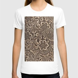 Gold & Brown Flowered Tooled Leather T-shirt
