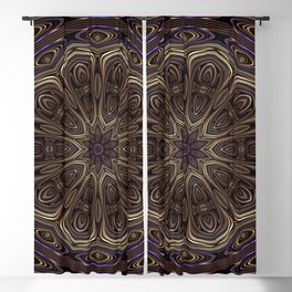 An Absract Kaleidoscope Flower of Bronze and Purple Highlights Blackout Curtain