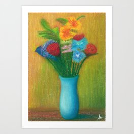 Colorful Flowers on the Floor, Vintage Old Style Painting Art Print