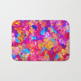 FLORAL FANTASY Bold Abstract Flowers Acrylic Textural Painting Neon Pink Turquoise Feminine Art Bath Mat