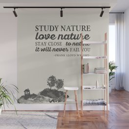 Nature quote with ink illustration Wall Mural