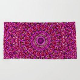 Deep Pink Garden Mandala Beach Towel
