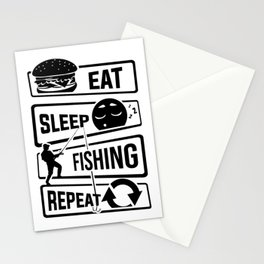 Eat Sleep Fishing Repeat - Fishing Fisherman Stationery Cards