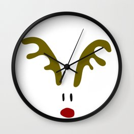 Christmas Red Nose Reindeer Wall Clock
