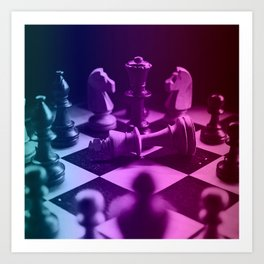 Chess Game & Cool Gradient Art Print