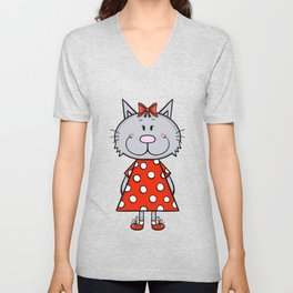 Cat in red polka dot dress Unisex V-Neck