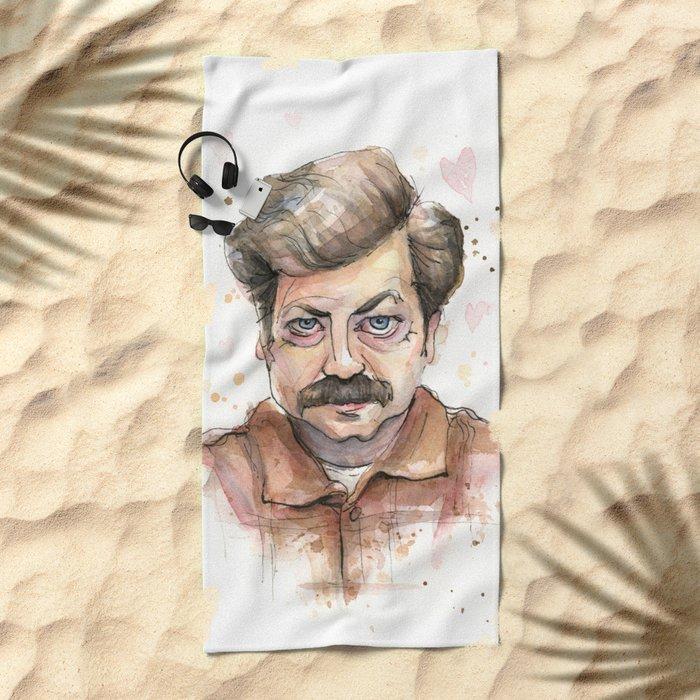 Ron Swanson Love Valentine Portrait Beach Towel