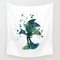sonic Wall Tapestries featuring Sonic the Hedgehog by Carma Zoe