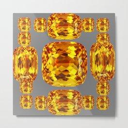 NOVEMBER GOLDEN TOPAZ FACETED GEMS GREY ART Metal Print