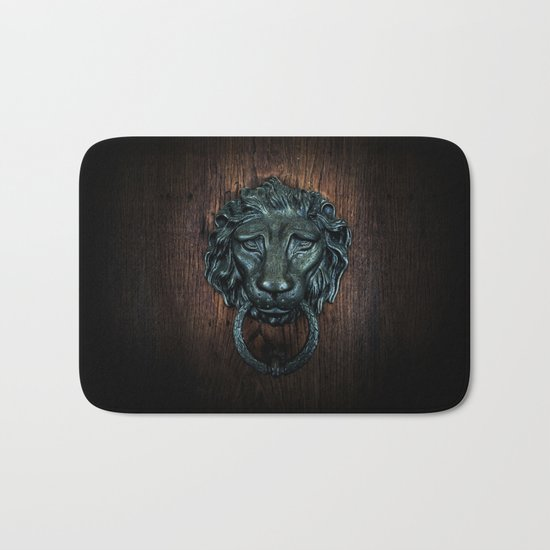 Vintage bronze lion door knocker Bath Mat