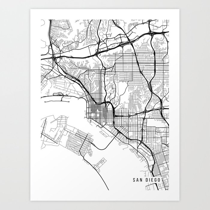 San Diego Map, California USA - Black & White Portrait Art Print by ...