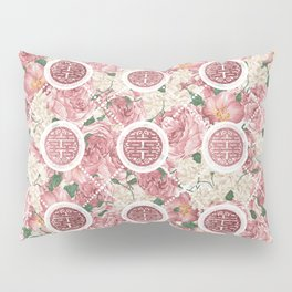 Double Happiness Symbol on Gentle Peony pattern Pillow Sham