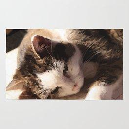 Sleeping Cat Illustration Rug