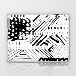 Black and White Ink Abstract Mark Making Pattern Laptop & iPad Skin