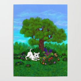 Easter - Spring-awakening - Puppy Capo and Butterfly Poster