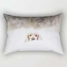 Hello - Minimalistic winter image of a dog in snow Rectangular Pillow