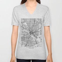 Dallas Map White Unisex V-Neck
