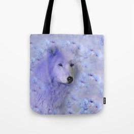 WOLF BLUE LILAC PURPLE FLOWER SPARKLE Tote Bag