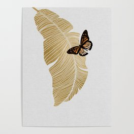 Butterfly & Palm Leaf, Gold Wall Art Poster