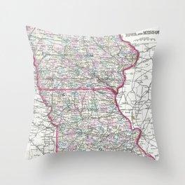 Vintage Iowa and Missouri Map (1874) Throw Pillow